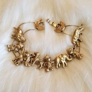 Gold Plated Bracelet with Moving Animals on Chain